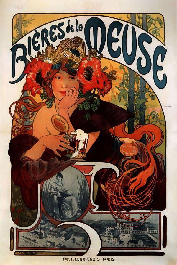 Bières de la Meuse Alfons Mucha - plakat